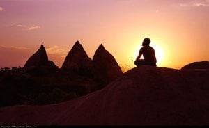 Mediating Meditation Sand Dune Sunset Man Peaceful Calm